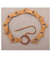 leather belt, 'contemporary edge in honey' (indonesia)