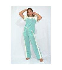 pijama mundo dos pijamas manga  e calca verde