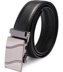 fibbia automatica in pelle nera business leisure cintura uomo