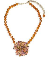 multicolor rhinestone beaded flower pendant necklace