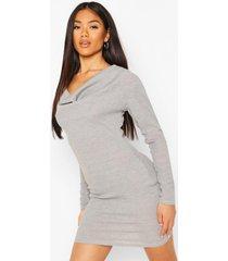 cowl neck rib mini dress, grey marl