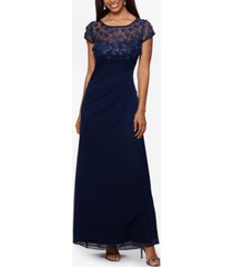xscape petite flower-embellished gown