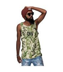 camiseta regata folhas estaçáo verde bamboo 2021