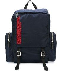 calvin klein 205w39nyc logo cargo backpack - blue