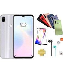celular xiaomi redmi note 7 128gb blanco + protector pantalla+audifonos+silicone case