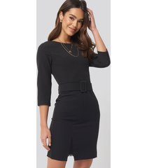 trendyol belt lace detail mini dress - black
