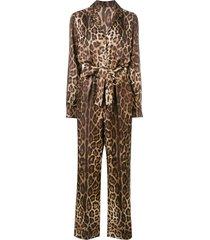 dolce & gabbana leopard print jumpsuit - brown