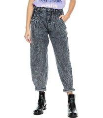 mom fit jeans high waist con pinzas en cintura + botonadura interna color blue