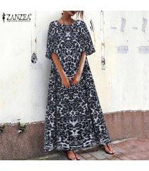 zanzea vestido largo de verano con vestido largo de verano vestido de noche con estampado de leopardo -gris