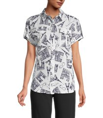 karl lagerfeld paris women's mixed building graphic button front shirt - white marine - size s