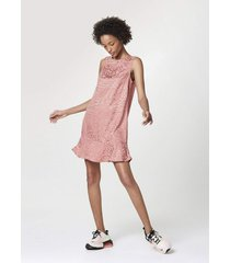 vestido hering curto evasê em viscose jacquard rosa