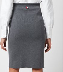 thom browne women's double face pencil skirt with rwb bow pockets - med grey - it 44/uk 12