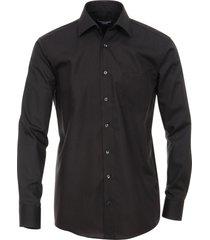 casa moda overhemd zwart effen poplin kent ml6 comfort fit