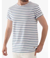 armor lux breton striped mariniere t-shirt - white & moody blue 73842
