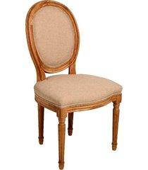 cadeira urbino de madeira carvalho americano sem braço assento e encosto de linho