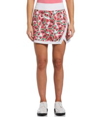 pga tour women's watermelon-print faux-wrap skort