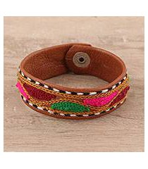 embroidered leather wristband bracelet, 'vibrant waves' (india)