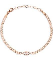 chloe & madison women's 14k rose gold vermeil & cubic zirconia evil-eye chain bracelet