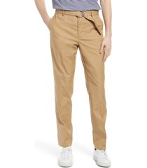 men's 7 for all mankind slim fit belted chino pants, size 34 - beige