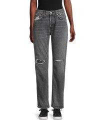 rag & bone women's rosa mid-rise boyfriend jeans - black magic - size 30 (8-10)