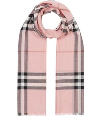 burberry lightweight check wool and silk scarf - pink