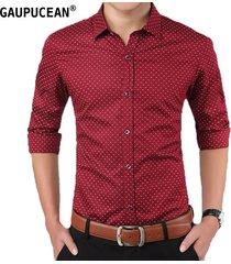 camisas formales manga larga algodón para hombre-rojo