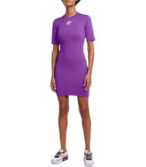 nike sportswear air two-tone ribbed dress, size x-small in fire berry/hyper royal/white at nordstrom