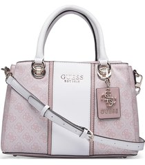 cathleen 3 compartment satchel bags top handle bags beige guess