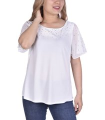 women's short flutter sleeve top with imitation pearls