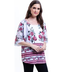 blusa 101 resort wear tunica estampada floral