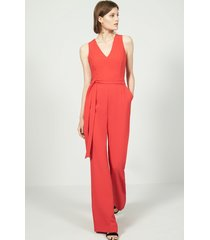 women's vince camuto tie front wide leg jumpsuit, size 12 - coral