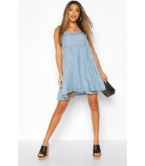chambray tie shoulder tiered shift dress, light blue