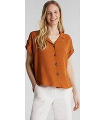 blusa de crepé con lenzing ecovero marrón esprit