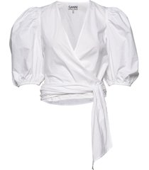 wrap blouse blouses short-sleeved wit ganni