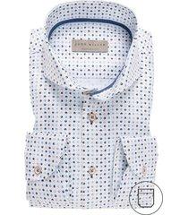 john miller hemd modern fit borstzak blauw print