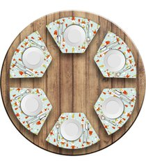 jogo americano love decor para mesa redonda wevans gnomos natalinos kit com 6 pçs