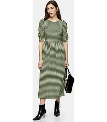 lime green gingham lace up back midi dress - lime