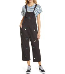 women's the great. the easy floral embroidered crop overalls