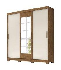 guarda roupa casal 3 portas de correr ilhéus castanho wood/baunilha - moval
