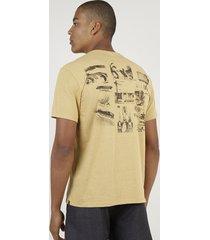 camiseta masculina listrada praia manga curta gola careca mostarda