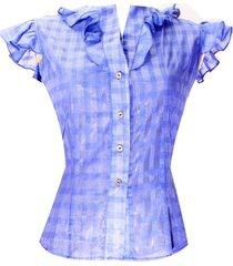 blusa cuadros manga bolero sarab/c099-ec azul