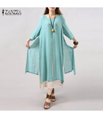6 colores zanzea vestido de lino de algodón vintage para mujer vestidos sueltos largos de manga 3/4 sueltos vestidos de talla grande s-5xl vestidos (azul claro) -azul