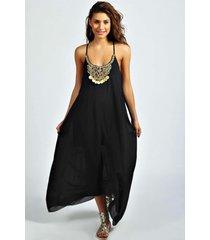 losvallende maxi jurk met parelketting in hals, zwart