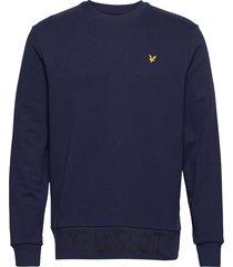 bottom branded crew neck sweat-shirt trui blauw lyle & scott