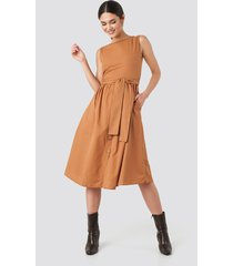trendyol front button binding detailed midi dress - orange