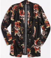 maurices womens black floral crochet back open front cardigan