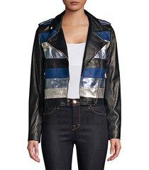 stripe leather moto jacket