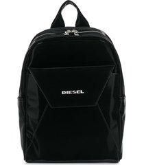 diesel top-zip structured backpack - black