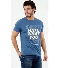 camiseta de hombre, cuello redondo, manga corta, con estampado dont-t hate