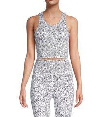 all fenix women's printed racerback sports bra - white multi - size s